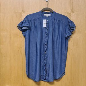 LOFT NWT Chambray Ruffle Top Shirt size S